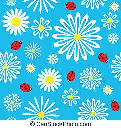 seamless, mariquita, camomila, pattern.