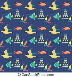 Seamless maritime pattern