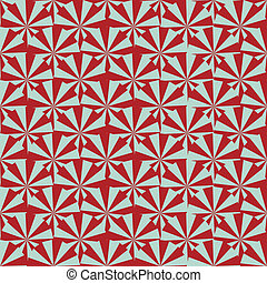light blue triangles alternate with deep red wedges to complete overlapping circles in a pattern similar to a wood print