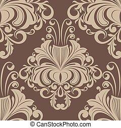 seamless, marrón, vendimia, papel pintado, vector, pattern.