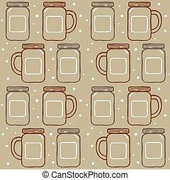 seamless mason jar pattern, vector illustration
