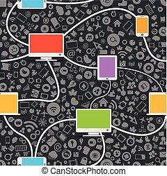 seamless, media, netwerk, achtergrond, sociaal