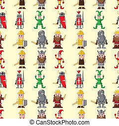 seamless medieval people pattern,cartoon vector illustration