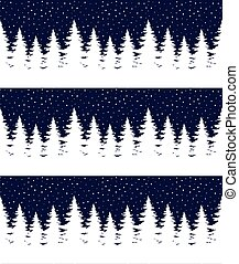 Seamless Merry Christmas pattern with deers, winter abstraction. Forest background. Endless horizontal banner with Reindeers in snow. Hand drawn paper decorative elements, vector illustration.