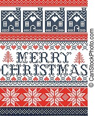 Seamless Merry Christmas Scandinavian fabric style, inspired by Norwegian Christmas, festive winter pattern in cross stitch with gingerbread house, Christmas tree, heart, decorative ornaments