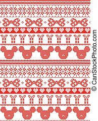 Seamless Merry Christmas Scandinavian fabric style, inspired by Norwegian Christmas, festive winter pattern in cross stitch with mouse, bow, gift, star, snowflake,  heart, decorative ornaments in whit
