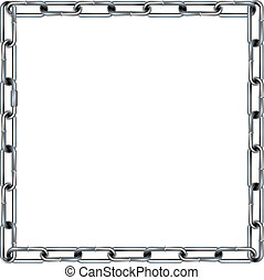 Seamless metal chain link border, background, or pattern with square corners - vector