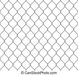 Seamless metal chain link fence. Wire vector fence pattern texture background