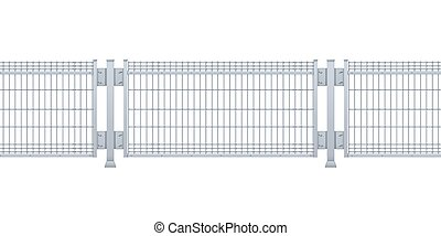 Seamless metal fence. Realistic vector galvanized sheet metal fence panel