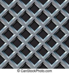 Seamless metal grill with diamond shape pattern