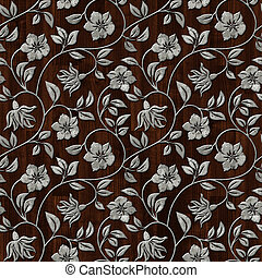 Seamless metal pattern on dark wooden background.