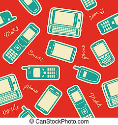 Seamless mobile devices background. Vector illustration