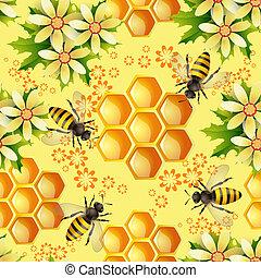 seamless, modèle, à, abeilles