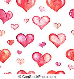 seamless, modèle, à, aquarelle, cœurs, blanc