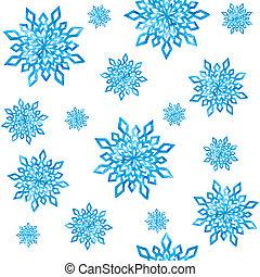 seamless, modèle, à, aquarelle, snowflakes.