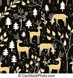 seamless, modèle, à, cerf, dans, hiver, forêt