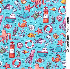 seamless, modèle, à, créatures mer, doodles, et, nautique,...