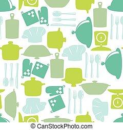 seamless, modèle, à, cuisine, articles, dans, silhouette,...