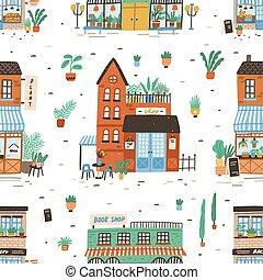 seamless, modèle, à, ville, bâtiments, blanc, arrière-plan.,...