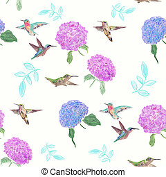 seamless, modèle, fleurs, colibris