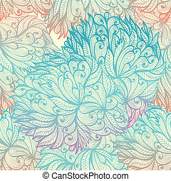 seamless, modèle, floral, griffonnage