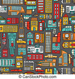 seamless, modèle, fond, de, dessin animé, ville