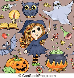 seamless, modèle, halloween, dessin animé, mignon