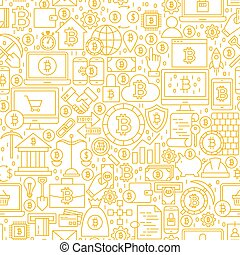 seamless, modèle, ligne, blanc, bitcoin