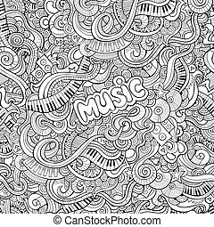 seamless, modèle, musique, dessin animé, doodles