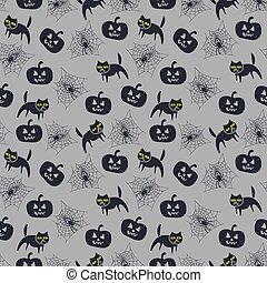 seamless, modèle, pumpkin., vecteur, halloween, chat