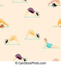 seamless, modèle, yoga., filles, pose, yoga, femme