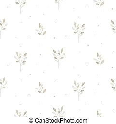 seamless, model, achtergrond., floral, branches., minuscuul, witte , neutraal, vector