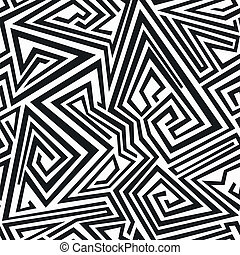 seamless, model, lijnen, spiraal, monochroom