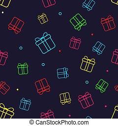 seamless, model, met, kleurrijke, cadeau, boxes., papier, kado, boxes., kerstmis, jaarwisseling, of, jarig, concept.