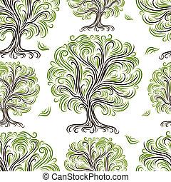 seamless, model, met, kunst, bomen, voor, jouw, ontwerp