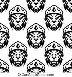 seamless, model, o, jeden, korunovaný, královský, lev