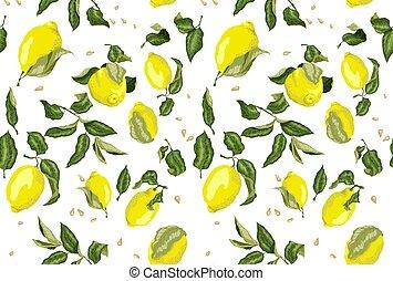 seamless, model, s, šťavnatý, citrón, dary, a, sbírat semena, venku, grafické pozadí