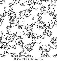 seamless, model, s, abstraktní, flowers.