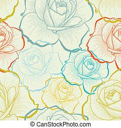 seamless, model, s, barva, rukopis, kreslení, růže