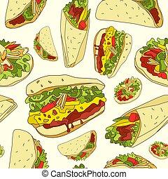 seamless, model, s, grafický, podoba, o, tradiční, mexican food