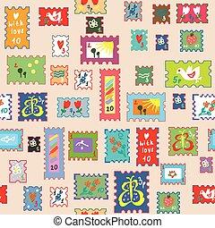 seamless, model, s, místo, poštovní známky, -, komický, dětinský, design