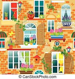 seamless, model, s, okna, a, květiny, do, pots., léto, nebo,...