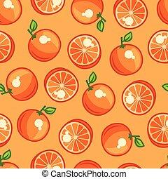 seamless, model, s, stylizovaný, čerstvý, zralý, pomeranč