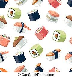 seamless, model, s, vektor, malba, dát, o, sushi, závitky, strava