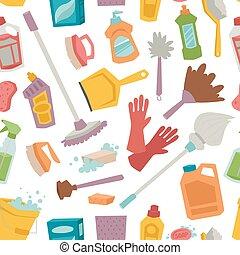 seamless, modello, attrezzi, casa pulizia