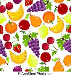 seamless, modello, bacche, frutte