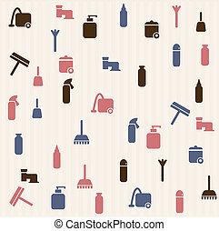 seamless, modello, -, casa pulizia