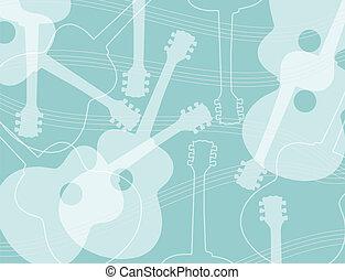 seamless, modello, chitarra acustica