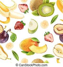 seamless, modello, colorito, frutte, bacche