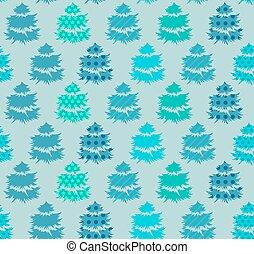 seamless, modello, con, alberi inverno
